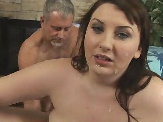 Fat babe was fucked in her holes by 3 poles