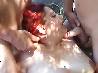 Big fat redhead group sex outdoors