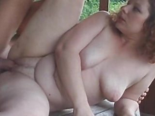 Outdoor bang for fatty mature redhead